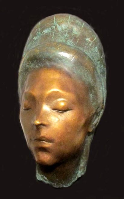 Enzo Nenci (1903-1972)Testa di donna malese, 1954, bronzo policromo, cm 32 ( 41 con la base di marmo verde),x 20x18,.jpg