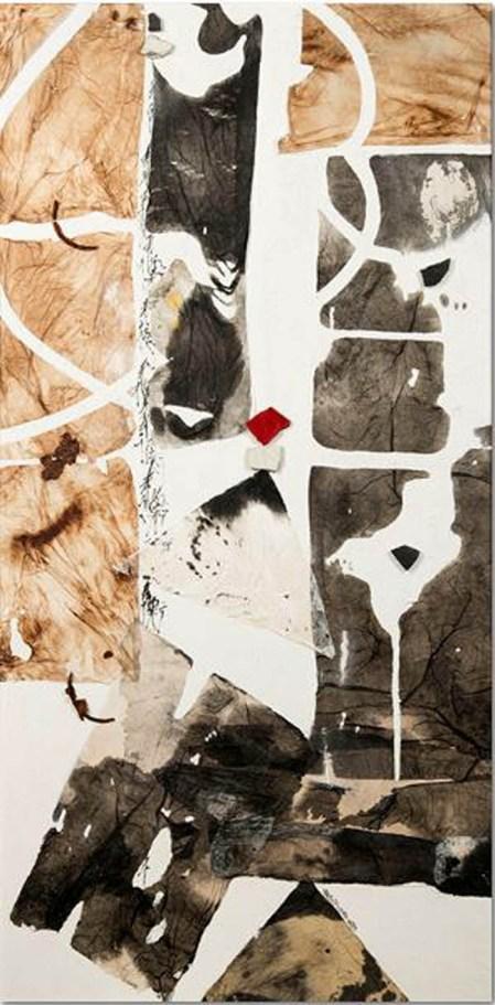 Pracchi Miriam, Equilibri, collage di carta di riso su tela, pomice acrilica, caffe`, frammenti di ceramica