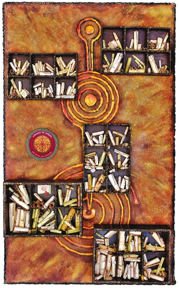 Omaggio alla Biblioteca di Alessandria d'Egitto, 2017, assemblaggio polimaterico su tavola, cm 101x62x7.jpg