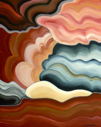 tre-Nebulose terre, 2017, olio su tela, cm 100x80