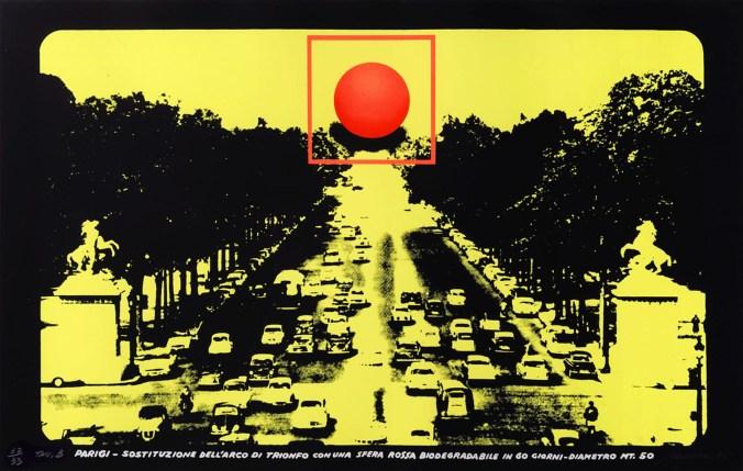 PANSECA-Sostituzione-dellArc-de-Triomphe-con-sfera-biodegradabile-trittico-serigrafico-Collezione-Creval.jpg