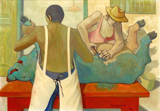 1978 ZANGRANDI - Macellazione, 1978, olio su tela, cm 70x100
