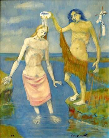 1989 ZANGRANDI - Battesimo, 1989, olio su tavola, cm 50x40