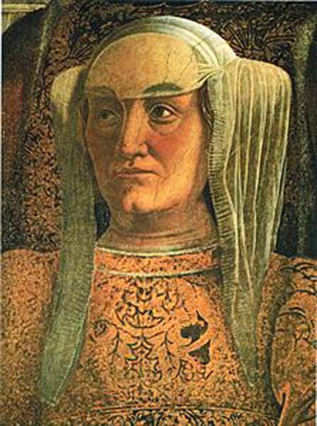 Barbara di Brandeburgo Gonzaga marchesa di Mantova - Andrea Mantegna - particolare Palazzo Ducale Mantova.jpg