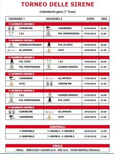 calendario torneo delle sirene