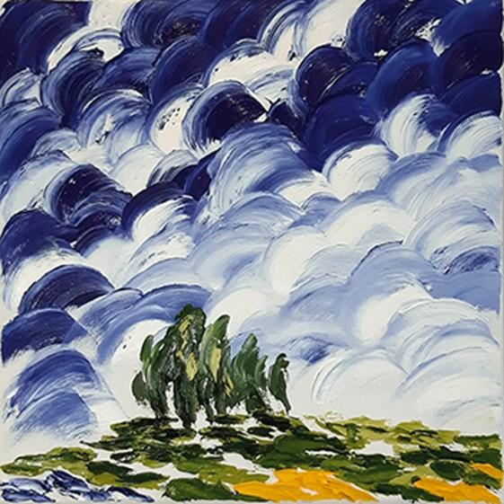 GHISLENI ANNA, Cipressi, olio su tela, cm 30x30, piccolo