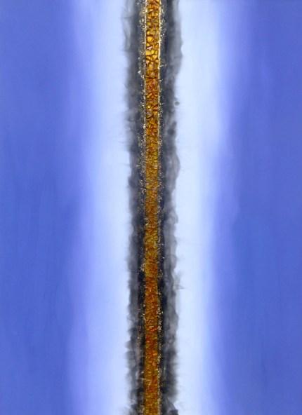 Oro, vetro, fuoco 3, oro, vetro, acrilico e combustione su tela, cm 142×101, 2017
