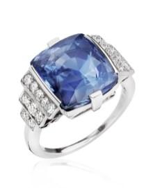anello oro bianco con diamanti e zaffiro