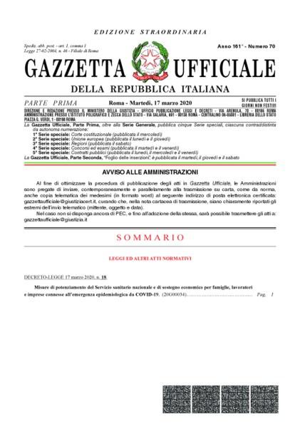 GURI 17 MARZO 2020 EDIZIONE STRAORDINARIA