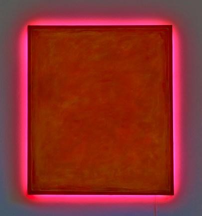 bedeschi-Più Arancio, 2011 cm 135X115X9 tecnica mista su tela,neon