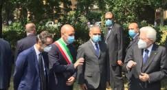 IL GOVERNATORE FONTANA CON IL SINDACO DI CODOGNO E IL PRESIDENTE DELLA REPUBBLICA MATTARELLA
