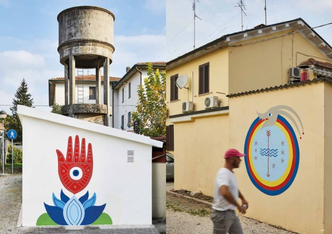 Alcuni dei murales al villaggio Unrra a Cotignola