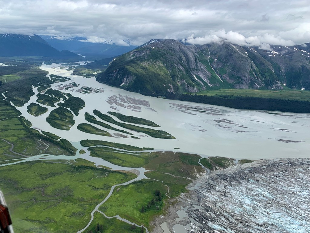 Aerial view of Juneau, Alaska mountains, land and glacier