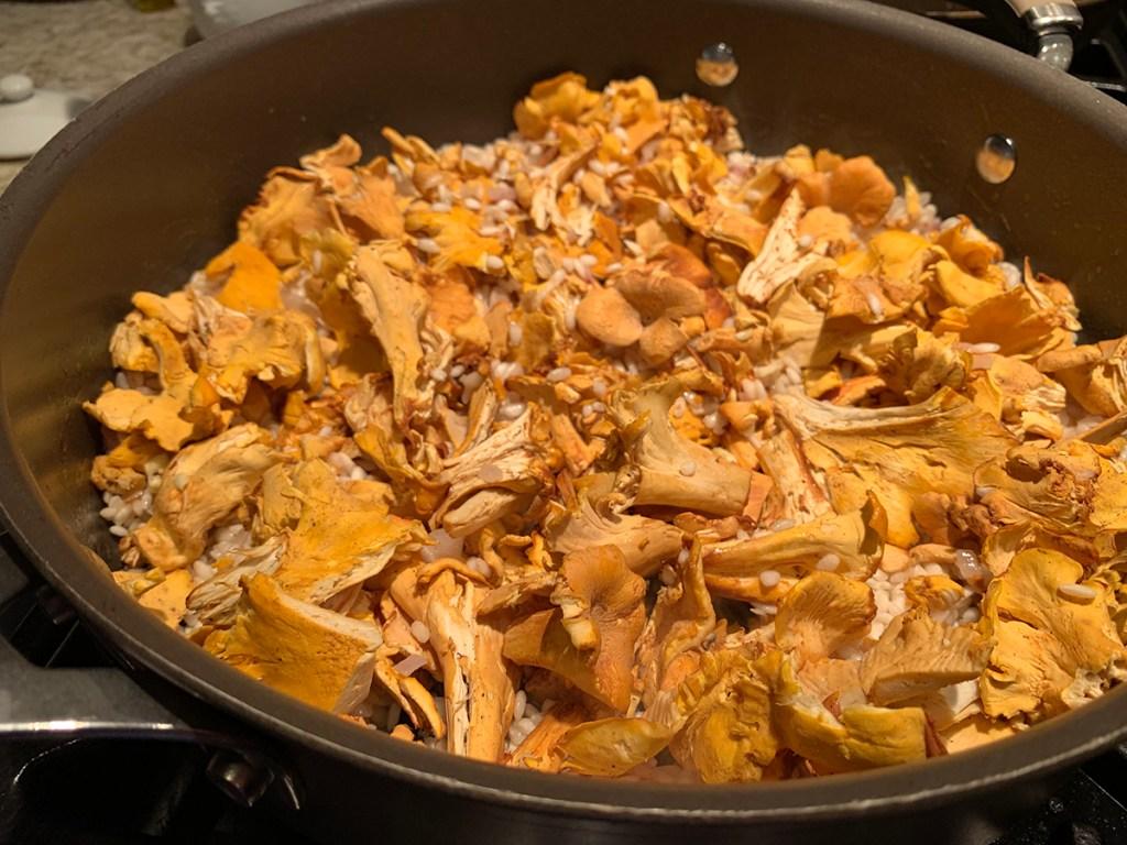 Chopped fresh chanterelles in a nonstick skillet