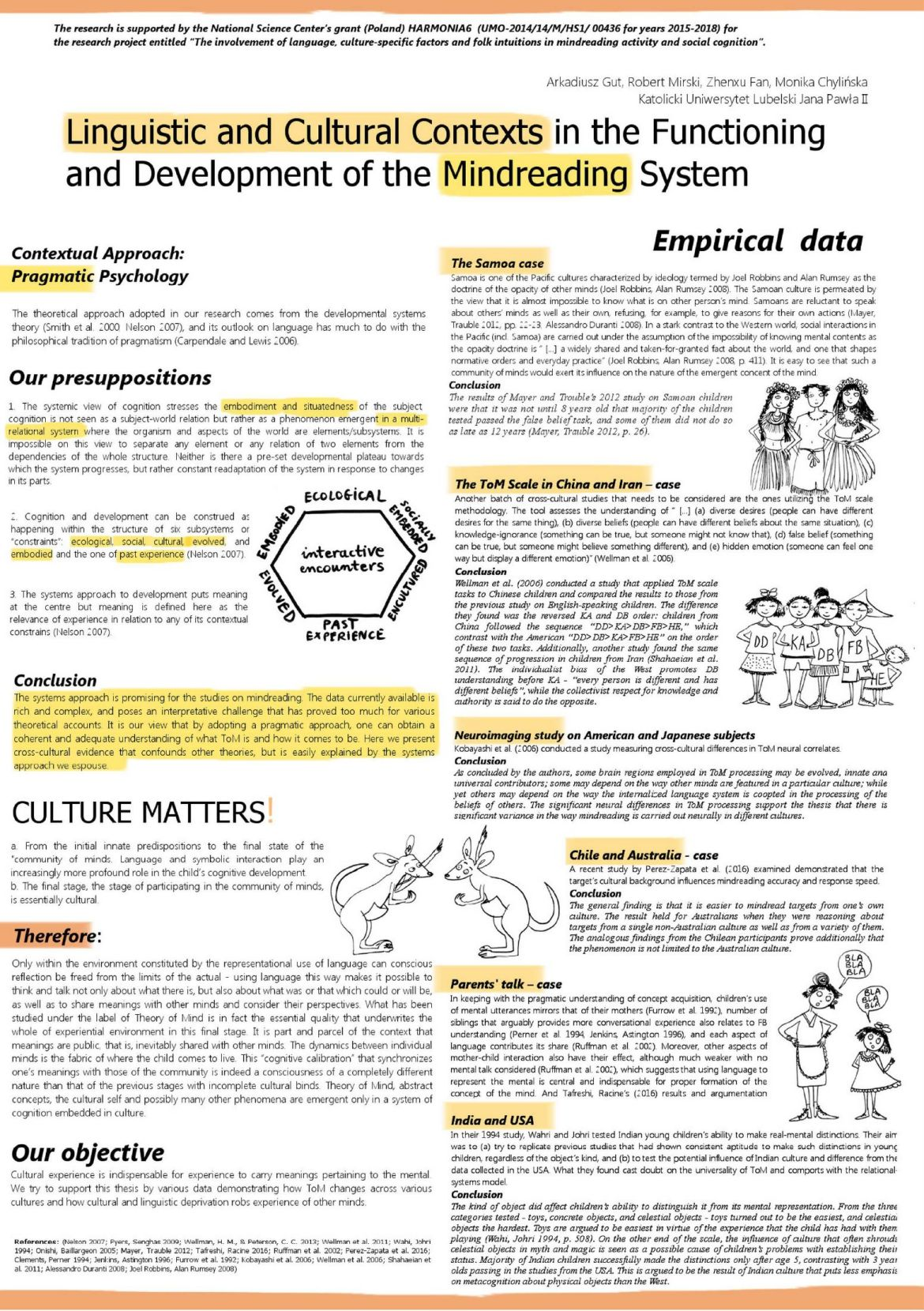 Linguistic and Cultural Contexts in the Functioning and Development of the Mindreading System [poster in pdf]