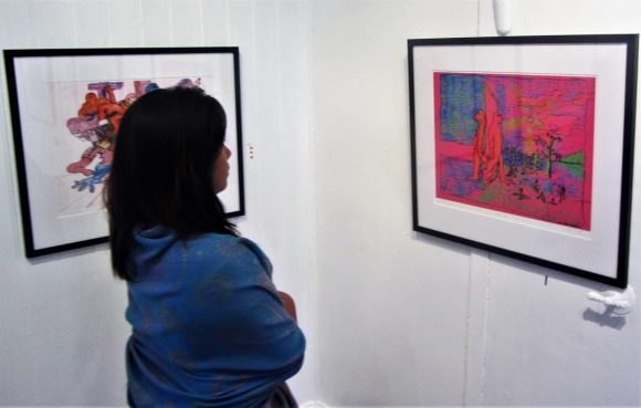 She exhibits her brother Eyolf's works, another primitive inspired painter with lots of humor