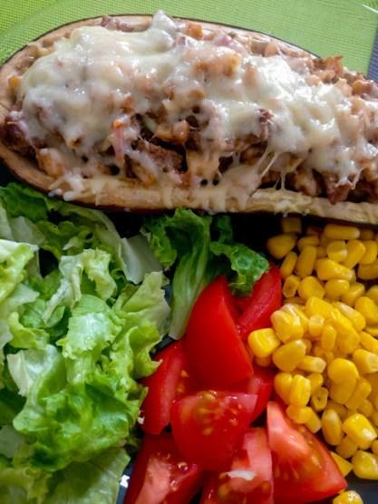 Recette by Mindandbeauty - Aubergines farcies grillées au four viande sauce tomate