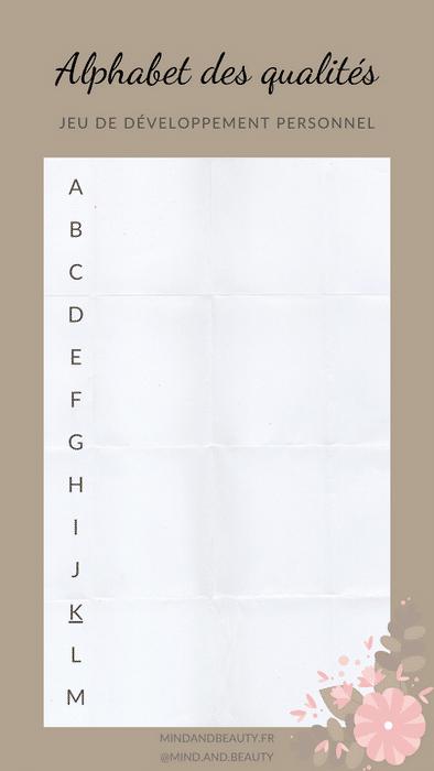 Mind and Beauty - Template jeu Alphabet des qualités 1/2