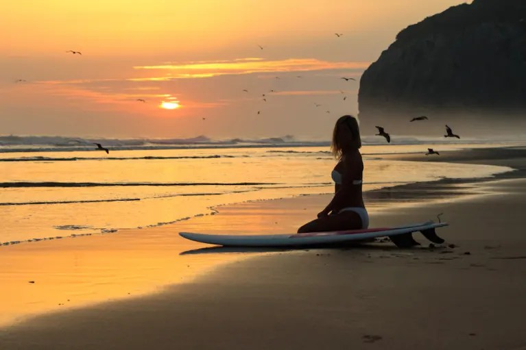 Surfer Girl Silhouette Sunset Wallpaper Kaia Roman On Mindbodygreen Mindbodygreen