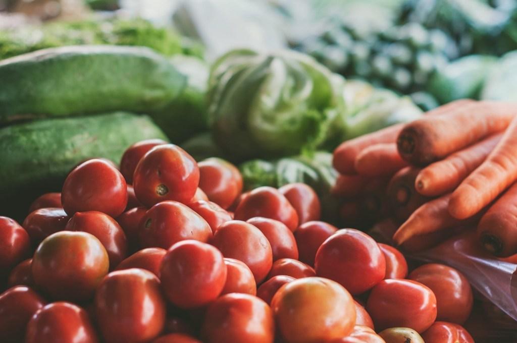 fresh stacked veggies closeup at a market; highlighting treating adhd naturally