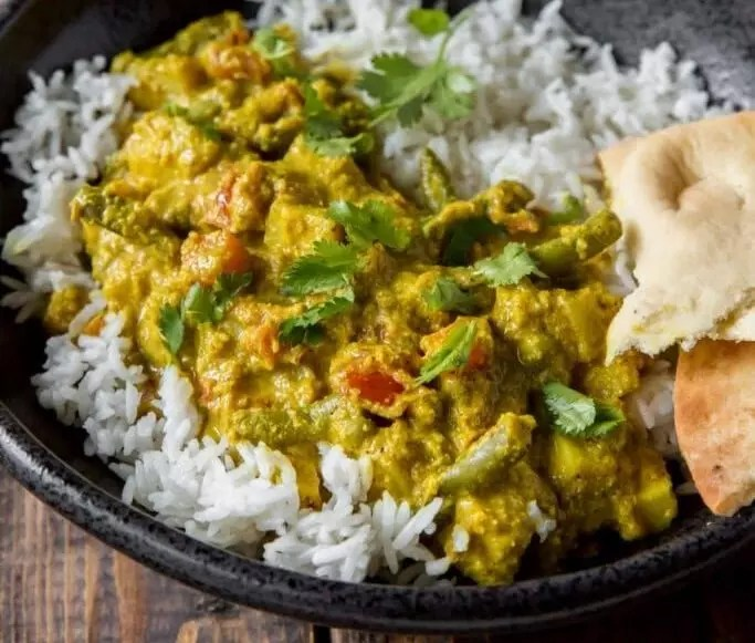 Creamy Indian Korma Over Rice