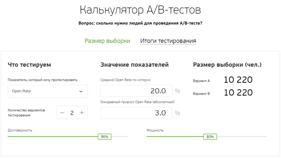 Калькулятор АВ-тестов