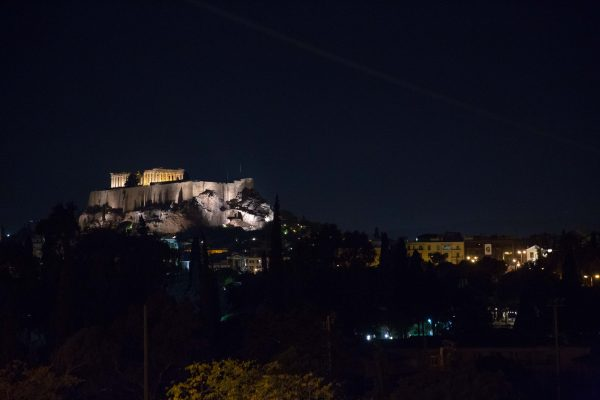 Night shot of Acropolis from the perspective of Attikos Restaurant in Athens