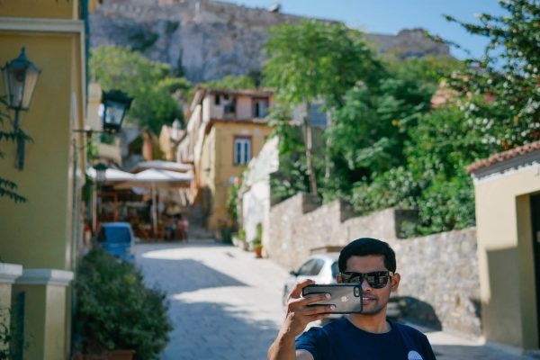 Member of Mindcurv taking a selfie during the Curv360 weekend celebrations in Athens