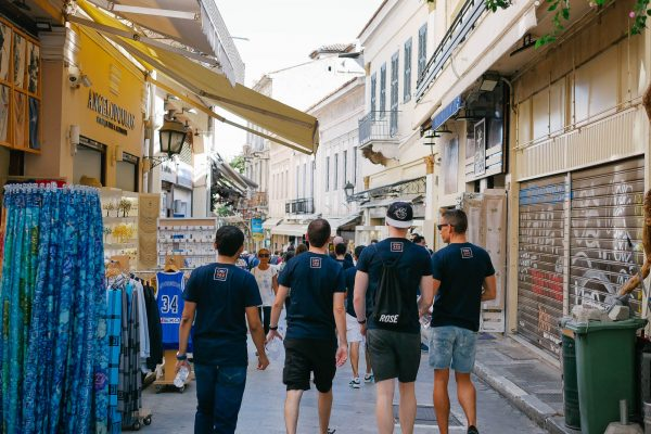 Mindcurv Members walking down the streets of Plaka in Athens doing a scavenger hunt to celebrate Mindcurv's 8th year anniversary