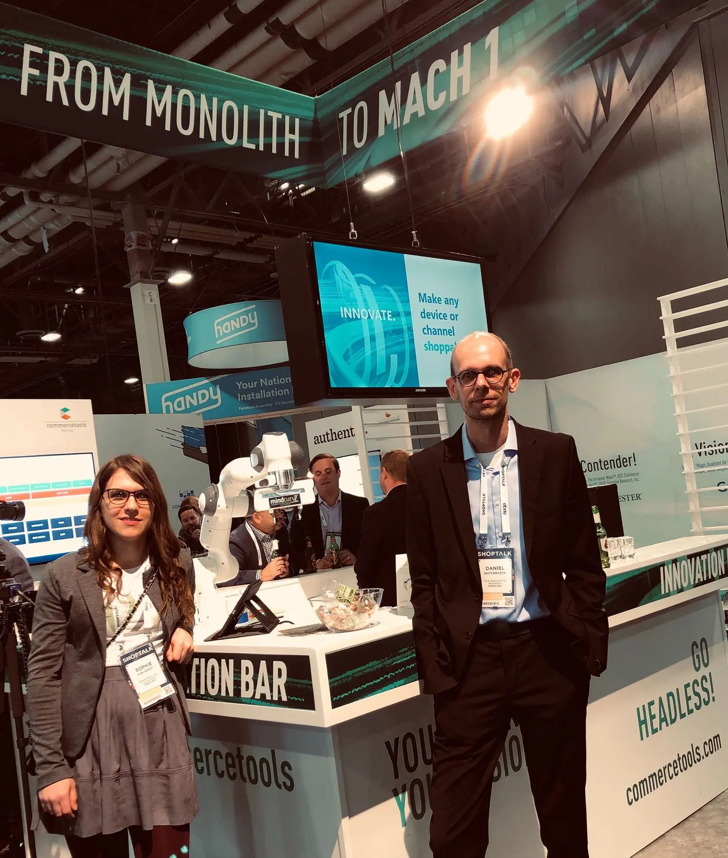 Sophie Van Soest and Daniel Skotarczyk at commercetools Innovation bar during the Shoptalk 2019 event in Las Vegas