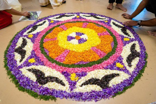 Flower rangoli created by Mindcurv staff for Onam celebrations