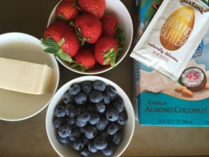 blueberries, almond milk, almond butter, strawberries, soft tofu