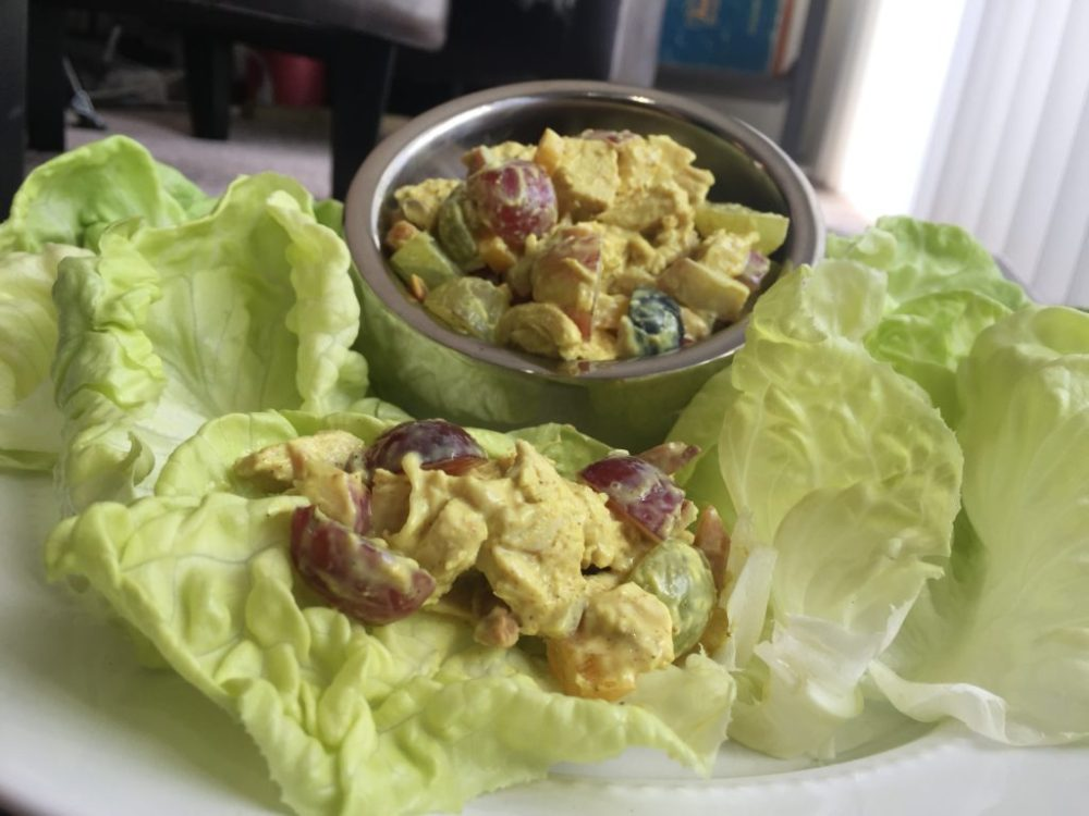 chicken curry salad and butter lettuce cups plated
