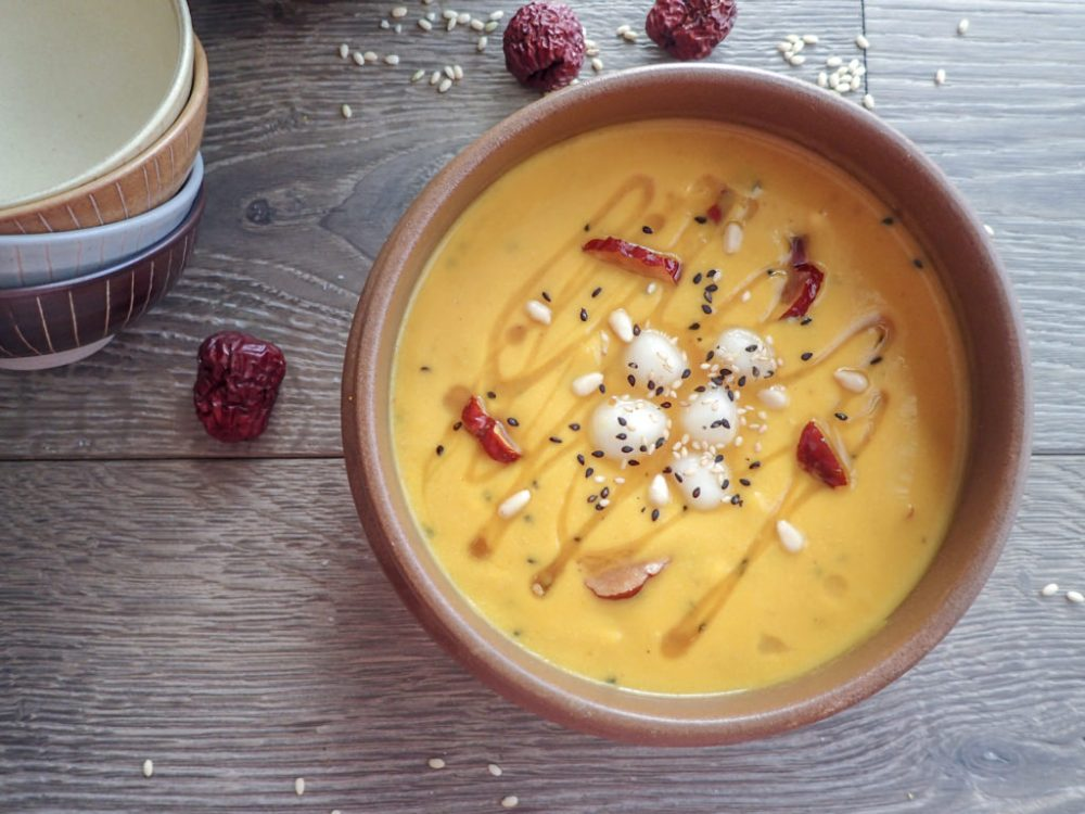 Kabocha squash fall porridge with red dates, pine nuts, and mochi