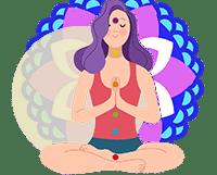 women with purple hair meditates on her chakras