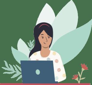 women uses laptop next to plants