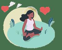 women practices loving kindness meditation