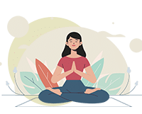 women meditates withe hands in prier position