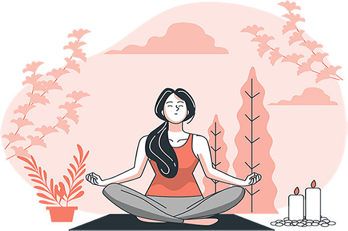 a women practices mindfulness next to candles, in nature