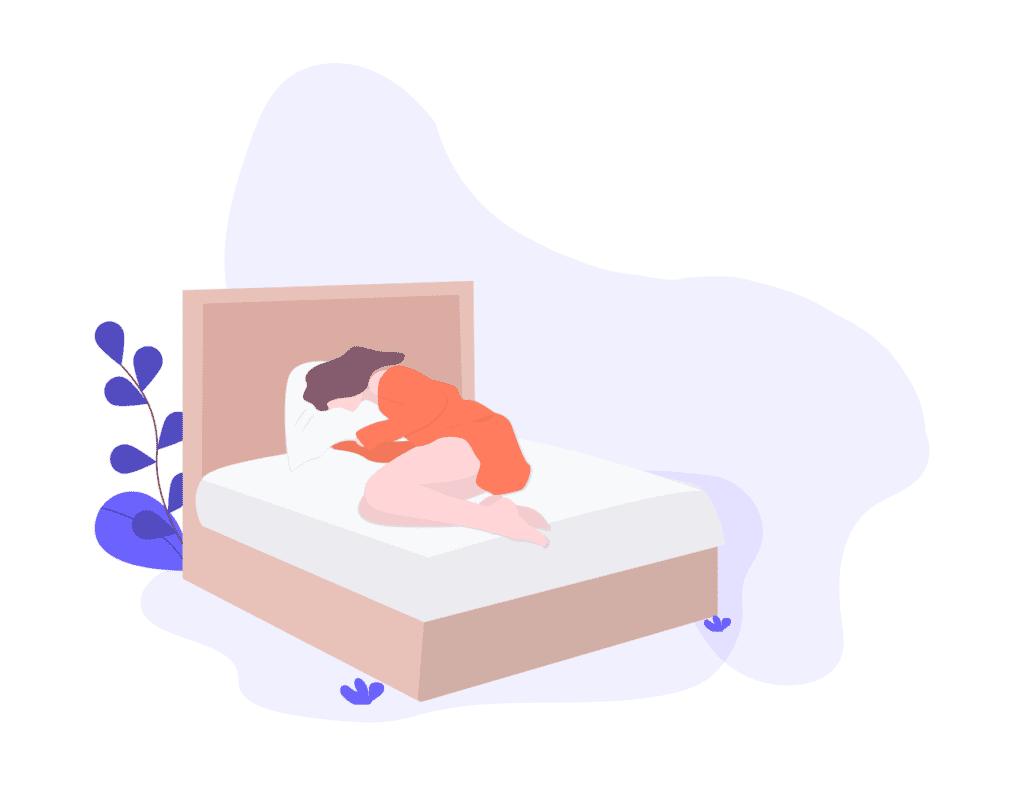 A women sleeps after a deep sleep guided meditation