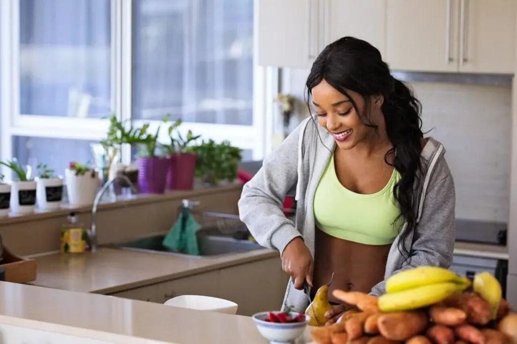 Mindful Eating - Woman preparing food