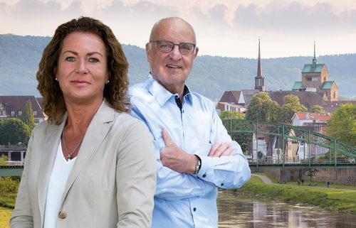 Ria Urban und Harald Steinmetz bilden die Fraktion der Unabhängigen Wählervereinigung Mindener Initiative (MI) im Rat der Stadt Minden. Foto: MI