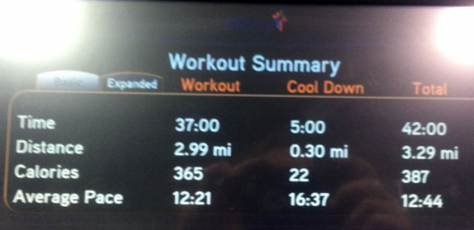A sxreen shot from a treadmill illustrating a 3 mile run.