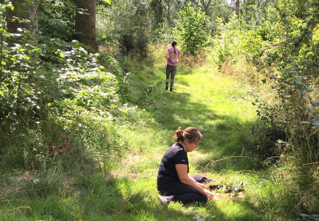 two women along woodland path