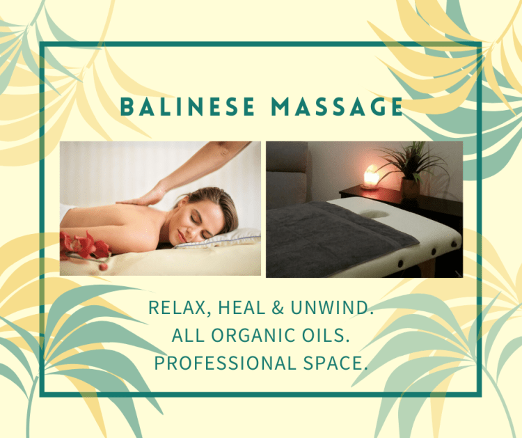 Balinese Intuitive Massage uses long flowing strokes and deep tissue work where needed.