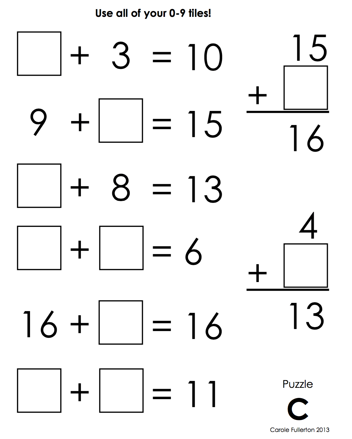 Number Tile Puzzles — Primary and Intermediate