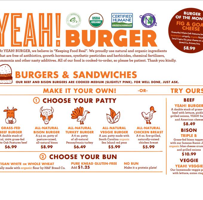 YEAH BURGER menu www.mindfulmomma.com