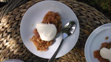 Star Thrower Farm Rhubarb Crisp via mindfulmomma.com