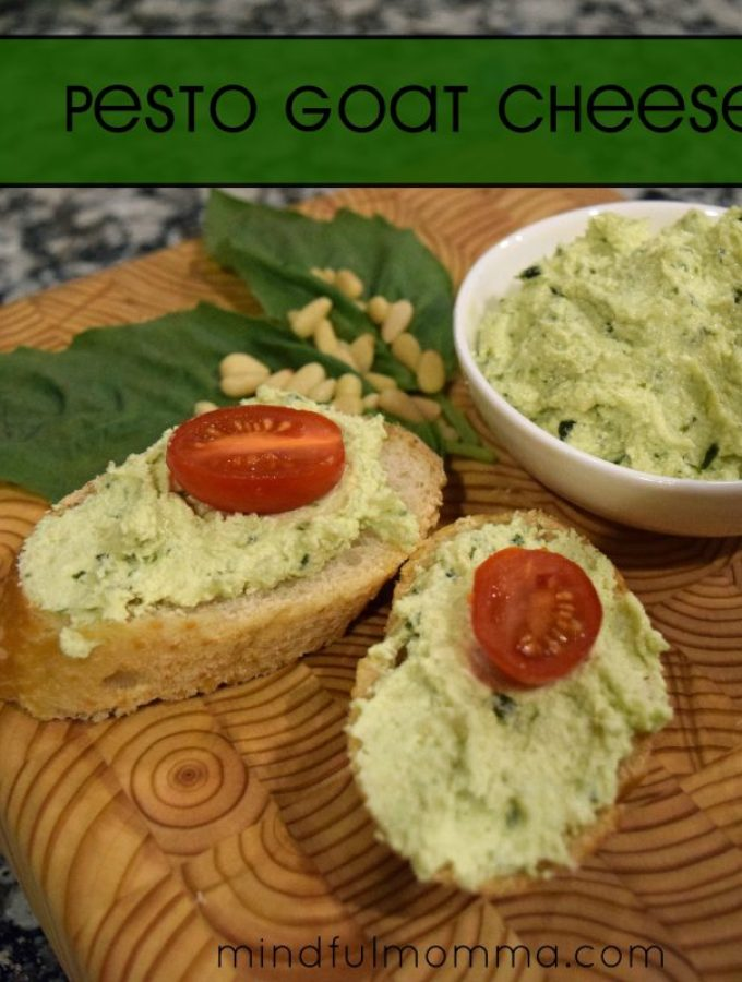 Simple Pesto Goat Cheese Spread + a Cutting Board Giveaway