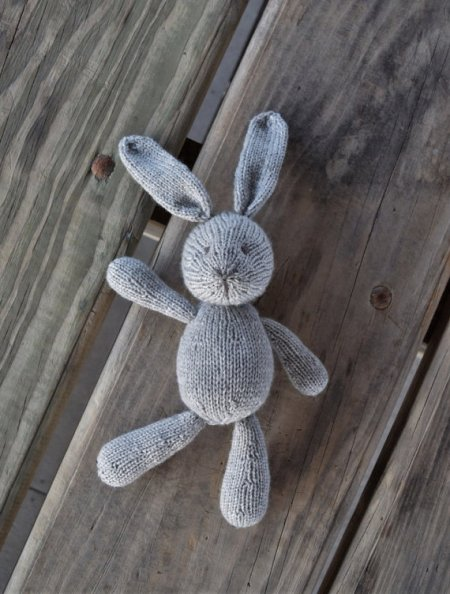 Hand knit bunny and other candy free Easter basket ideas